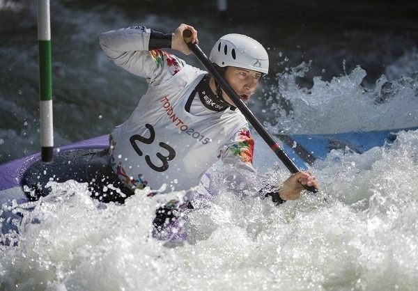 Man in a competitive kayaking.