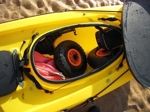 Storage space on a kayak.