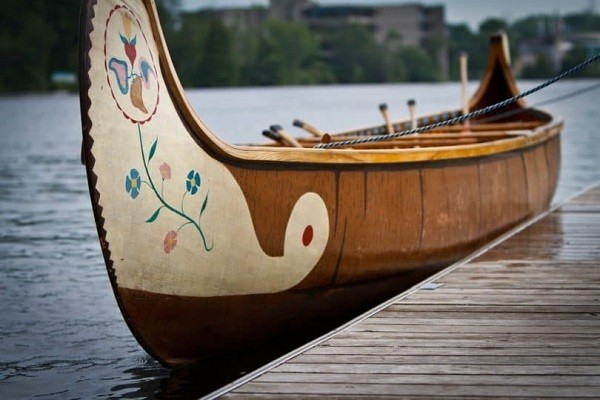 Close-up on a canoe design.